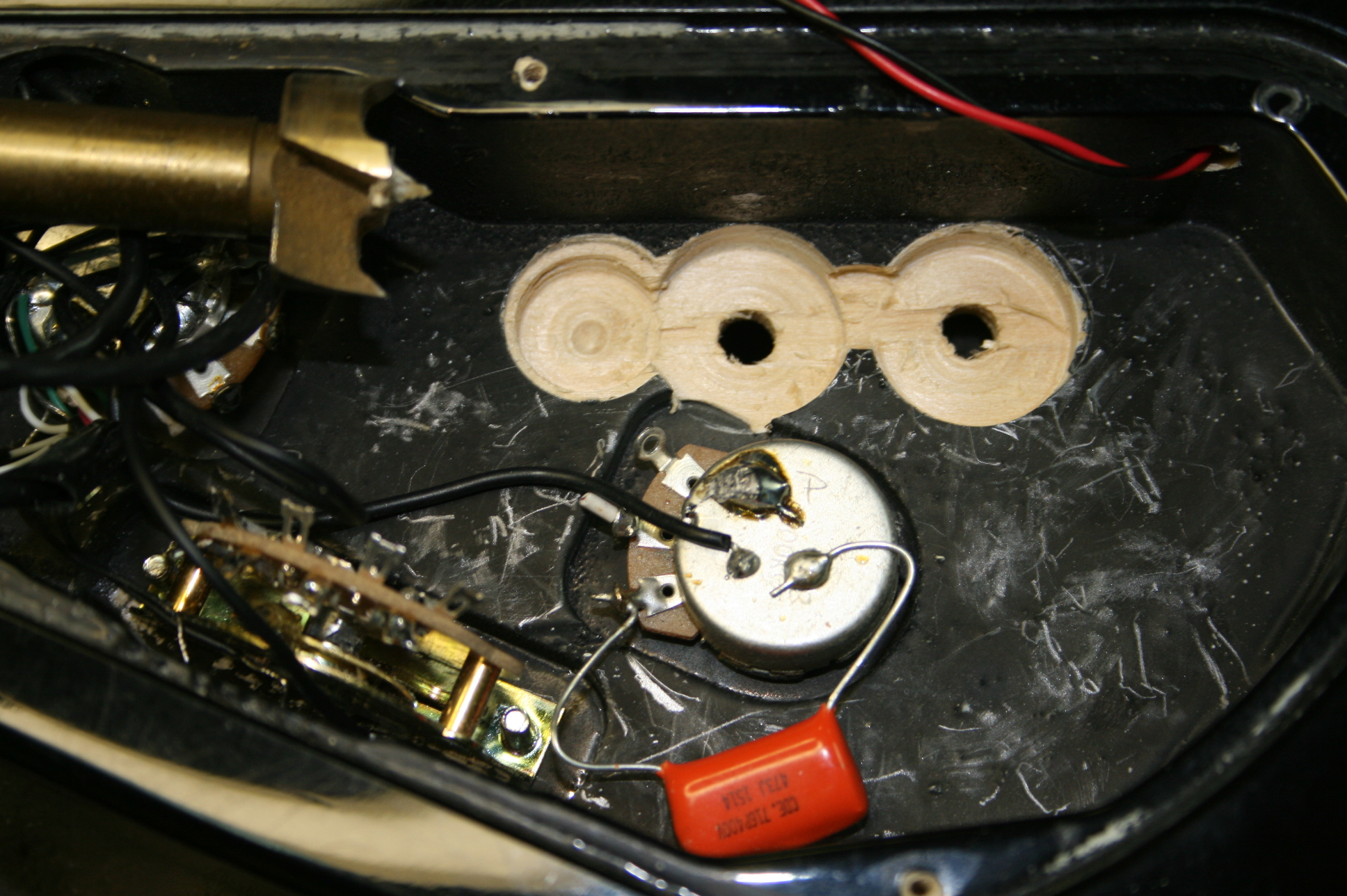 Sustainiac Stealth Pro Auxilliary Board Picture Of How To Make A Circuit Guitar Pick Jackson Dk 2 Cavity Prep For Aux Tt Using Forstner Bit Shown At Left In Photo And Chisel The Wall Thinner Switch